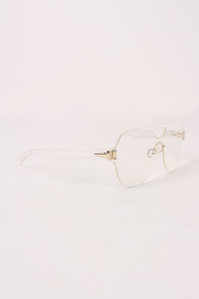 Rimless Clear Lens Cutout Double Bridge Glasses