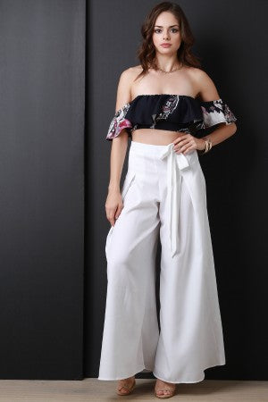 Pleated Waist-Tie Wide Leg Pants