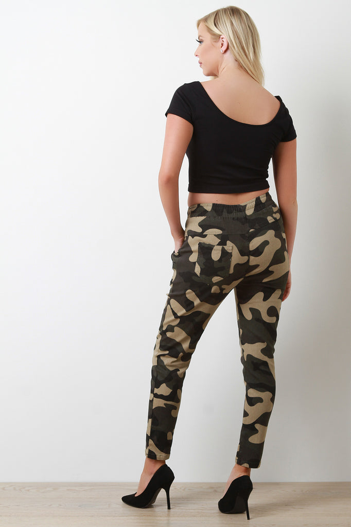 Camouflage Zipper Accent Jogger Pants
