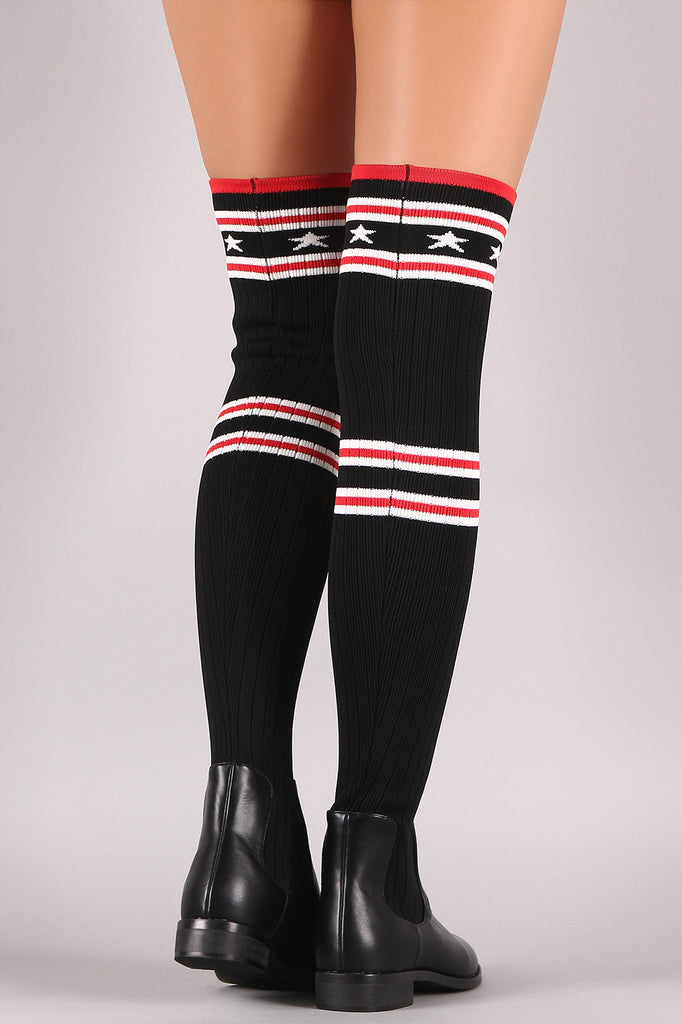 Stars And Stripes Ribbed Knit Over-The-Knee Riding Boots