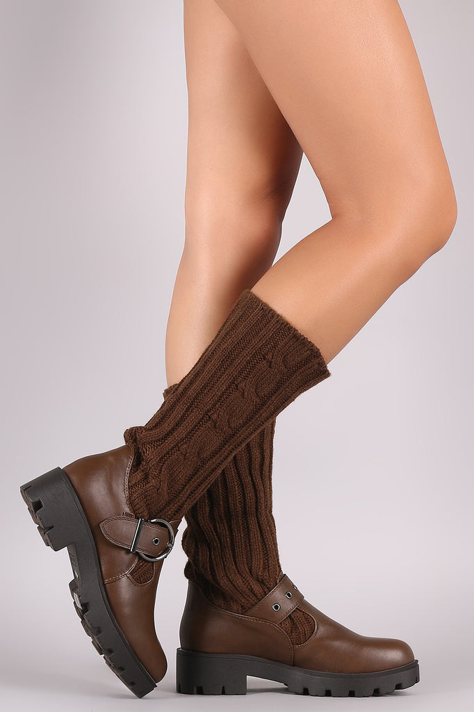 Bamboo Buckled Sweater Shaft Lug Sole Platform Boots