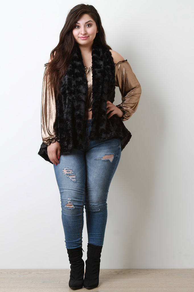 Quilted Faux Fur Open Front Vest