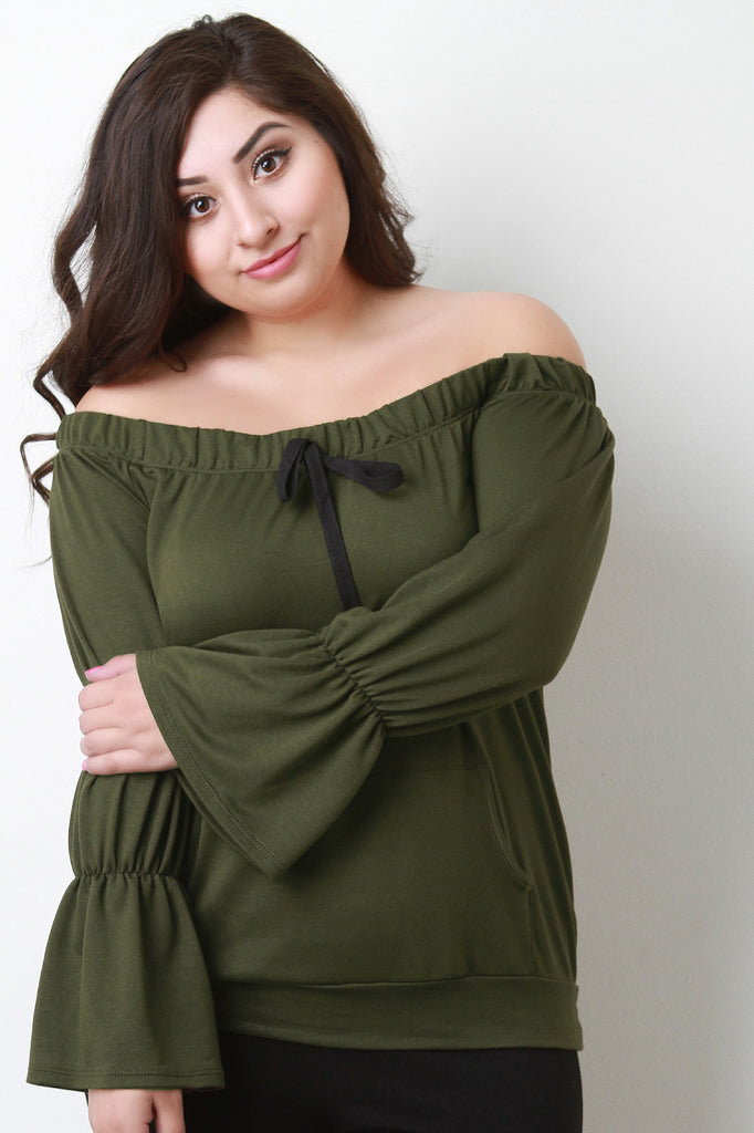 Trumpet Sleeves Off-The-Shoulder Top