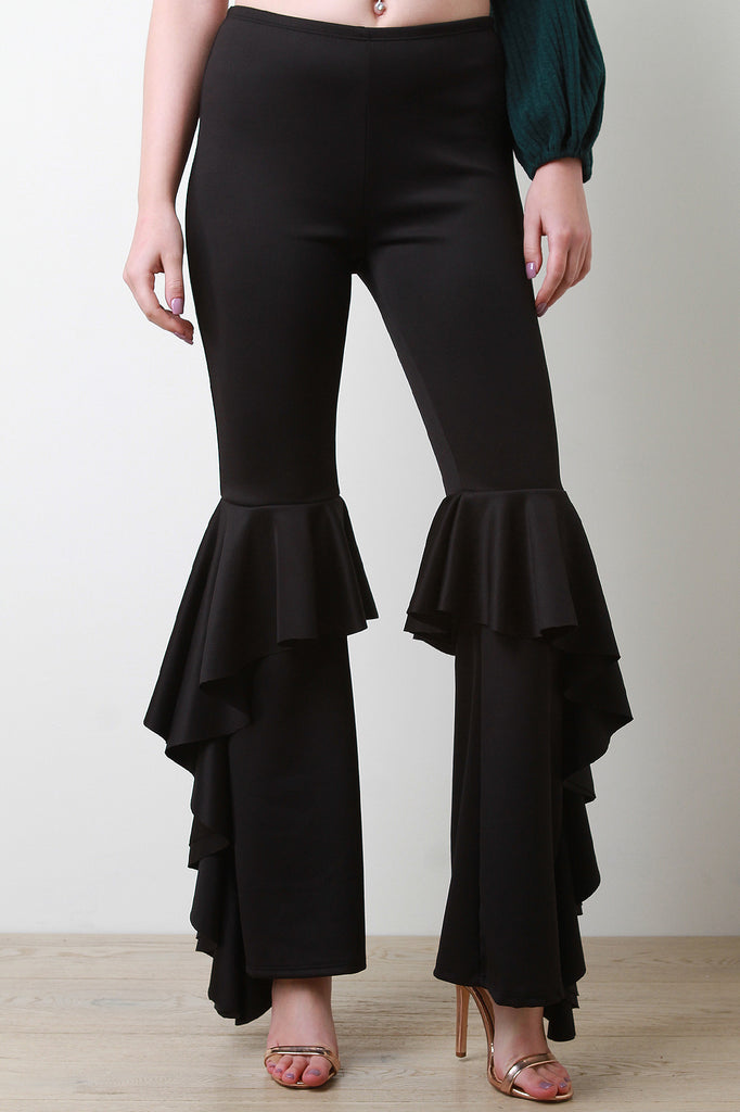 Waterfall Ruffle Accent Bell Bottom Pants