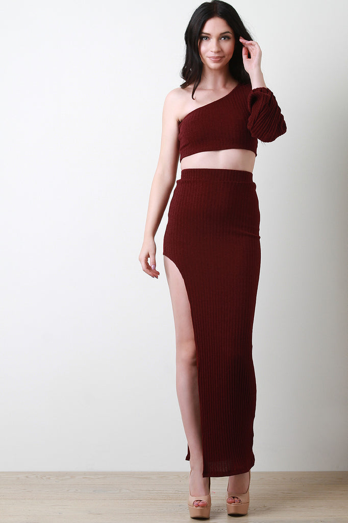 One Shoulder Bishop-Sleeve Crop Top With Slit Maxi Skirt Two Piece Set
