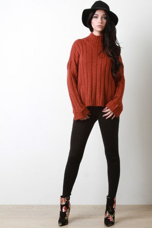 Bell Cuff Sleeve Ribbed Knit Sweater