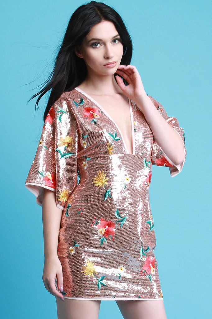 Floral Embroidered Sequins Dress