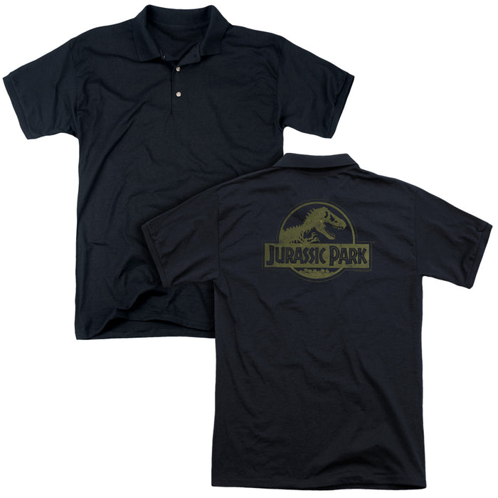 Jurassic Park - Distressed Logo (Back Print) Mens Regular Fit Polo