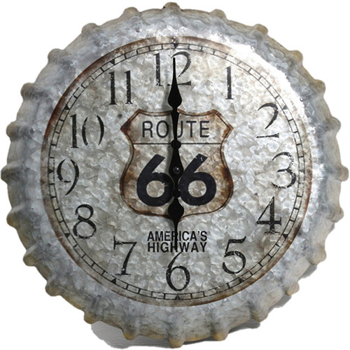 "Springfield-14"" Route 66 Bottlecap Clock"