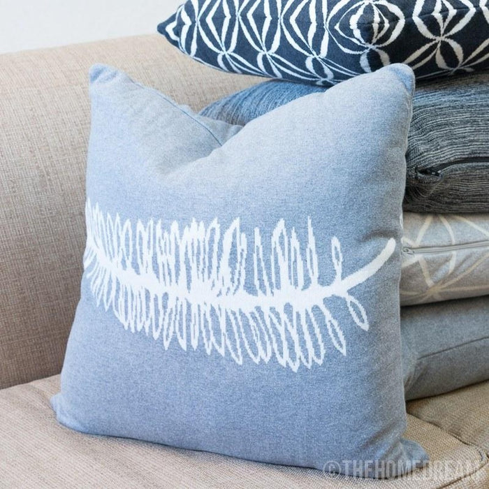 FERN LEAF Grey & White Knitted Cotton Square Cushion Cover