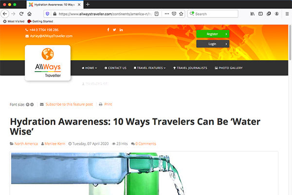 Hydration Awareness: 10 Ways Travelers Can Be 'Water Wise'