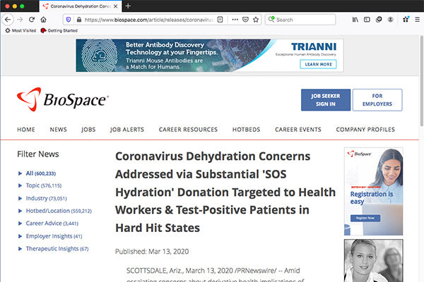 Coronavirus Dehydration Concerns Addressed via Substantial 'SOS Hydration' Donation Targeted to Health Workers & Test-Positive Patients in Hard Hit States