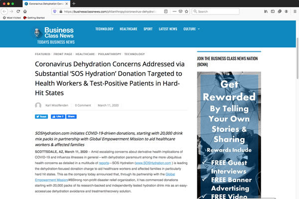 Coronavirus Dehydration Concerns Addressed via Substantial 'SOS Hydration' Donation Targeted to Health Workers & Test-Positive Patients in Hard-Hit States