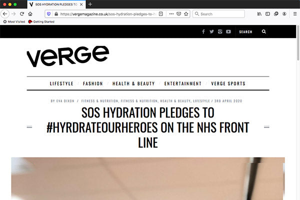 SOS HYDRATION PLEDGES TO #HYRDRATEOURHEROES ON THE NHS FRONT LINE
