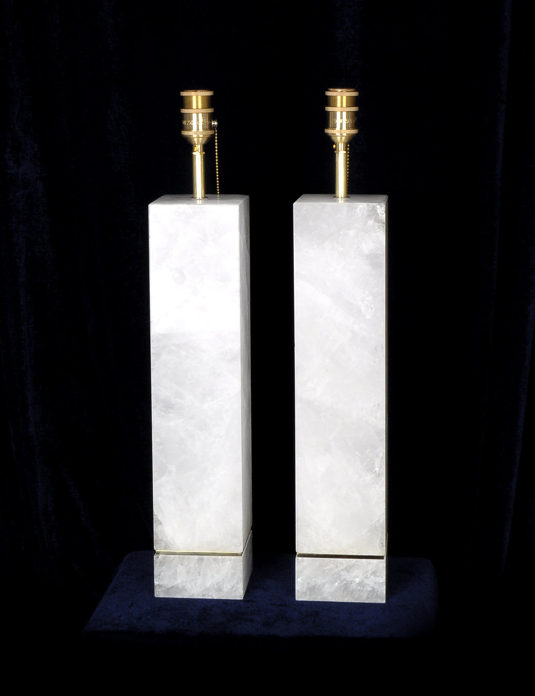 Pair Of Modern Rock Crystal Quartz Lamps