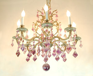 Amethyst White Brass Chandelier 8 Lights Rose de France
