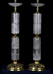Pair Of Column Rock Crystal Quartz Lamps