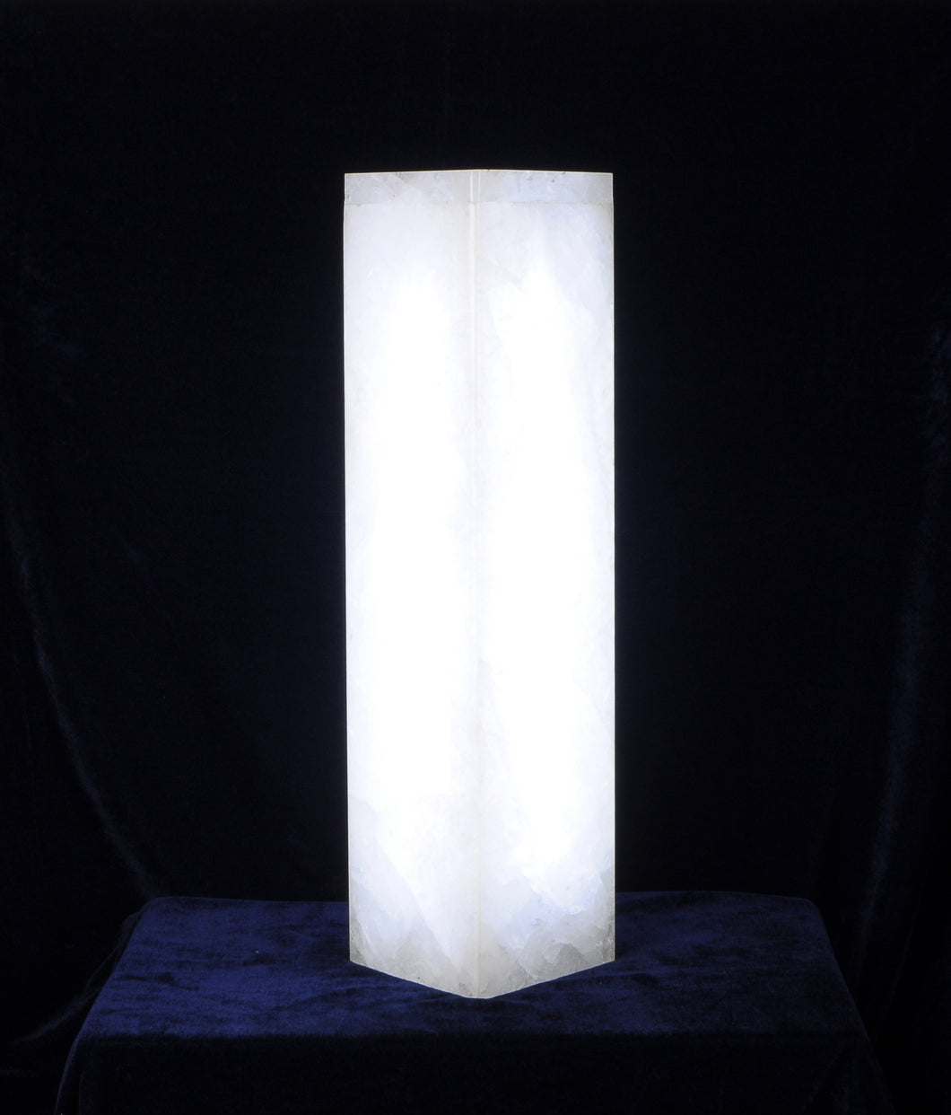 Square Column White Quartz Rock Crystal Lamp
