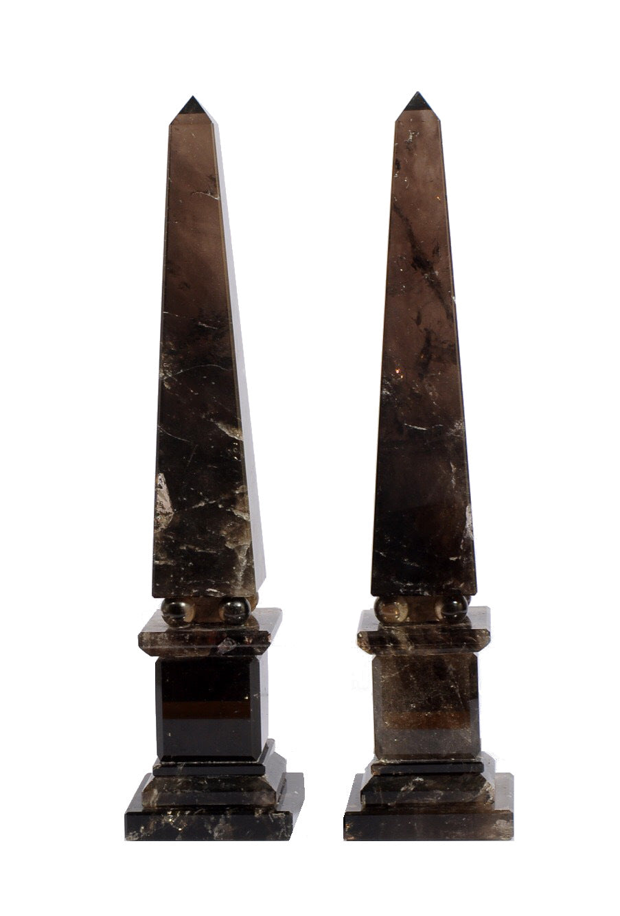 Dark Rock Crystal Quartz Obelisks Pair 15