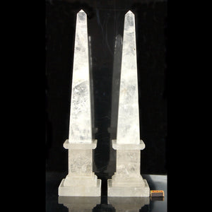 "Huge Natural Rock Crystal Quartz Obelisks Pair 25"" Healing Point"