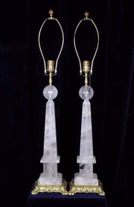 Pair Of Rock Crystal Quartz Obelisks Lamps