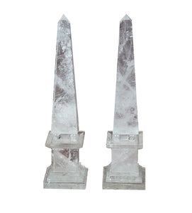 "Natural Rock Crystal Quartz Obelisks Pair 15"" With Beads High Clarity"
