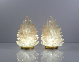 Pair Of Rock Crystal Cluster Lamps Liberty