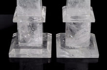 "Natural Rock Crystal Quartz Obelisks Pair 15"" Healing Point High Clarity"