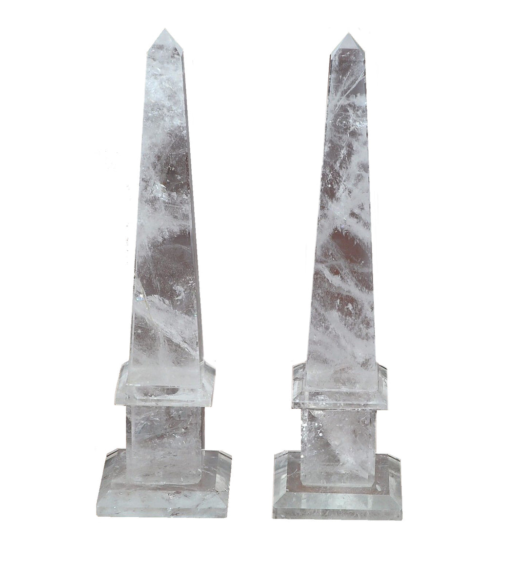Natural Rock Crystal Quartz Obelisks Pair 15