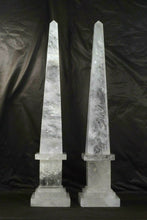"Extra Large Natural Rock Crystal Quartz Obelisks Pair 28"" Healing Point High Clarity"