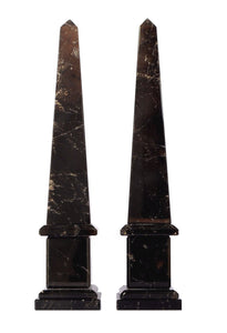 "Dark Rock Crystal Quartz Obelisks Pair 17"" Healing Point High Clarity"