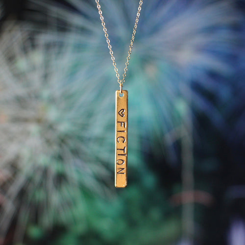 <3 FICTION Hand Stamped Pendant Necklace