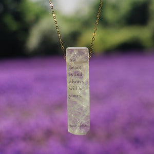 Jane Austen Quartz Yours Quote Necklace