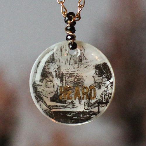 Heard Mother of Pearl Jane Austen Necklace