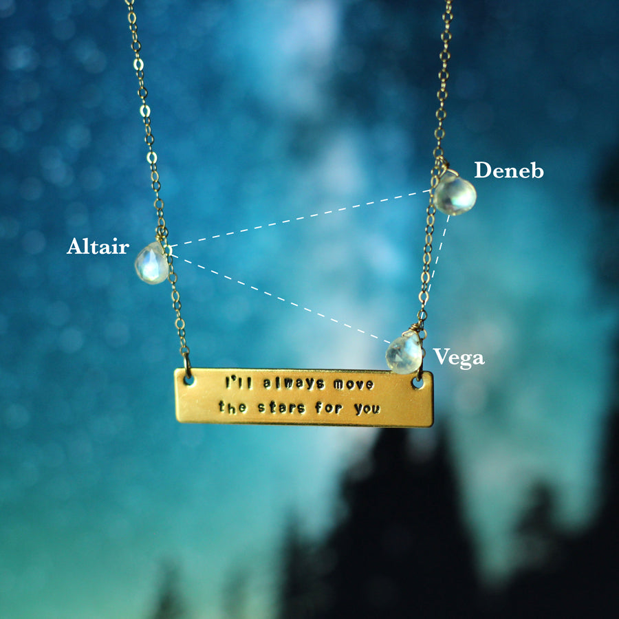 Jessica Hawkins Hand Stamped Always Move the Stars Quote Moonstone Necklace