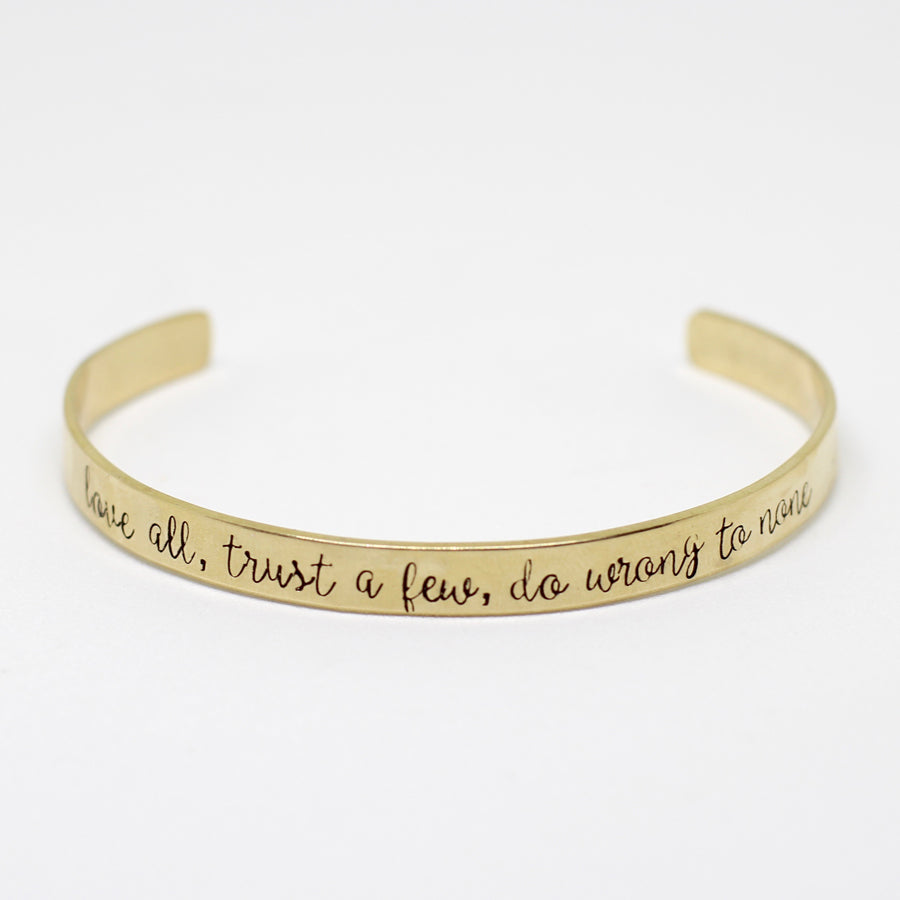 Shakespeare Love All Cuff Bracelet