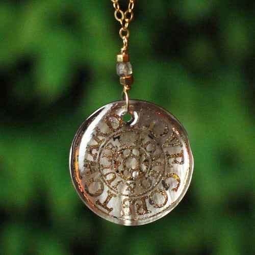 Love Goes Toward Love Mother of Pearl Shakespeare Necklace