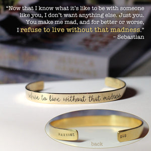 Jessica Hawkins Hand Stamped Madness Quote Cuff Bracelet