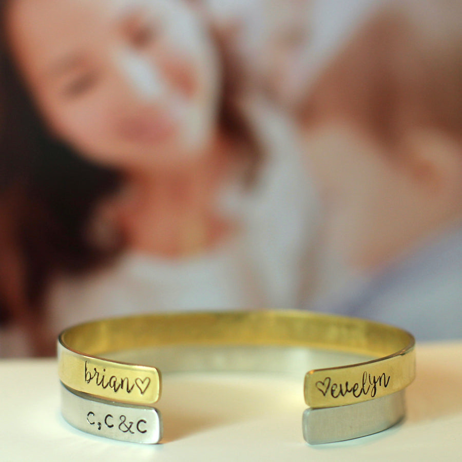 77d7d711edc23 Personalized Hand Stamped Cuff Bracelet for Mom