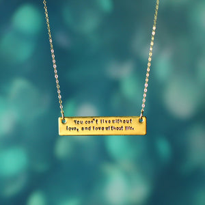 Marley Valentine Hand Stamped Live Love Quote Necklace