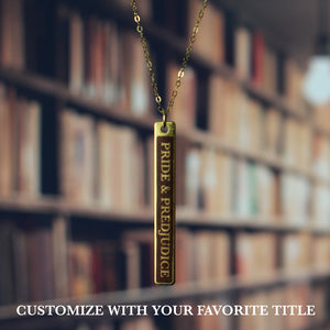 single bar pendant novel title necklace custom - Fiction Jewelry