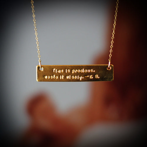 K. Bromberg Hand Stamped Time Quote Necklace