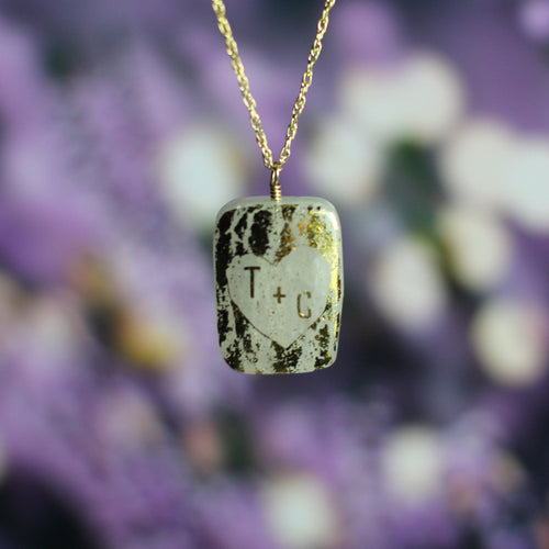Custom Sweethearts Tree Quartz Necklace with Initials