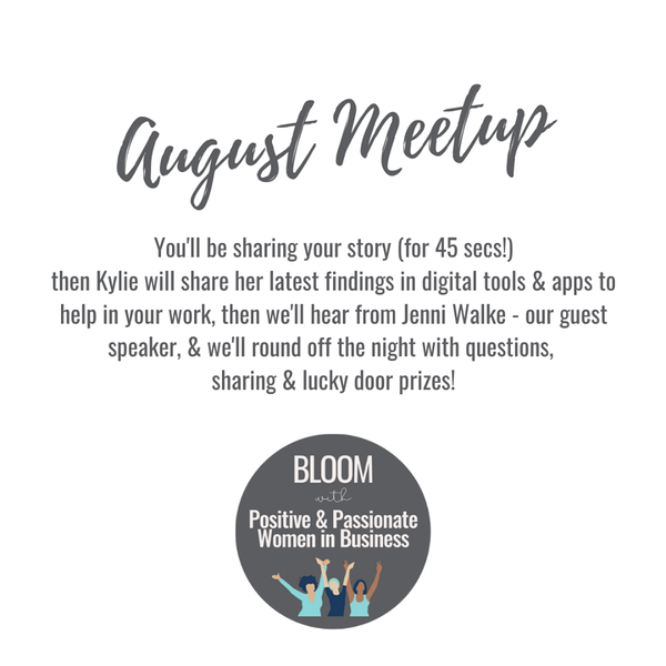 Positive Passionate Business Women August Meetup Jenni Walke Storytelling Instagram Story evergreen content