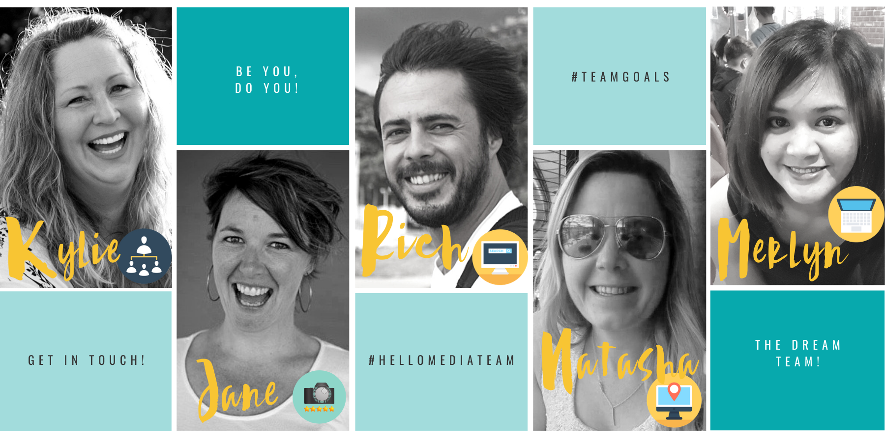 Meet the Hello Media Team who work behind the scenes; wix wordpress & shopify websites, marketing assistant VA, videographer, photographer