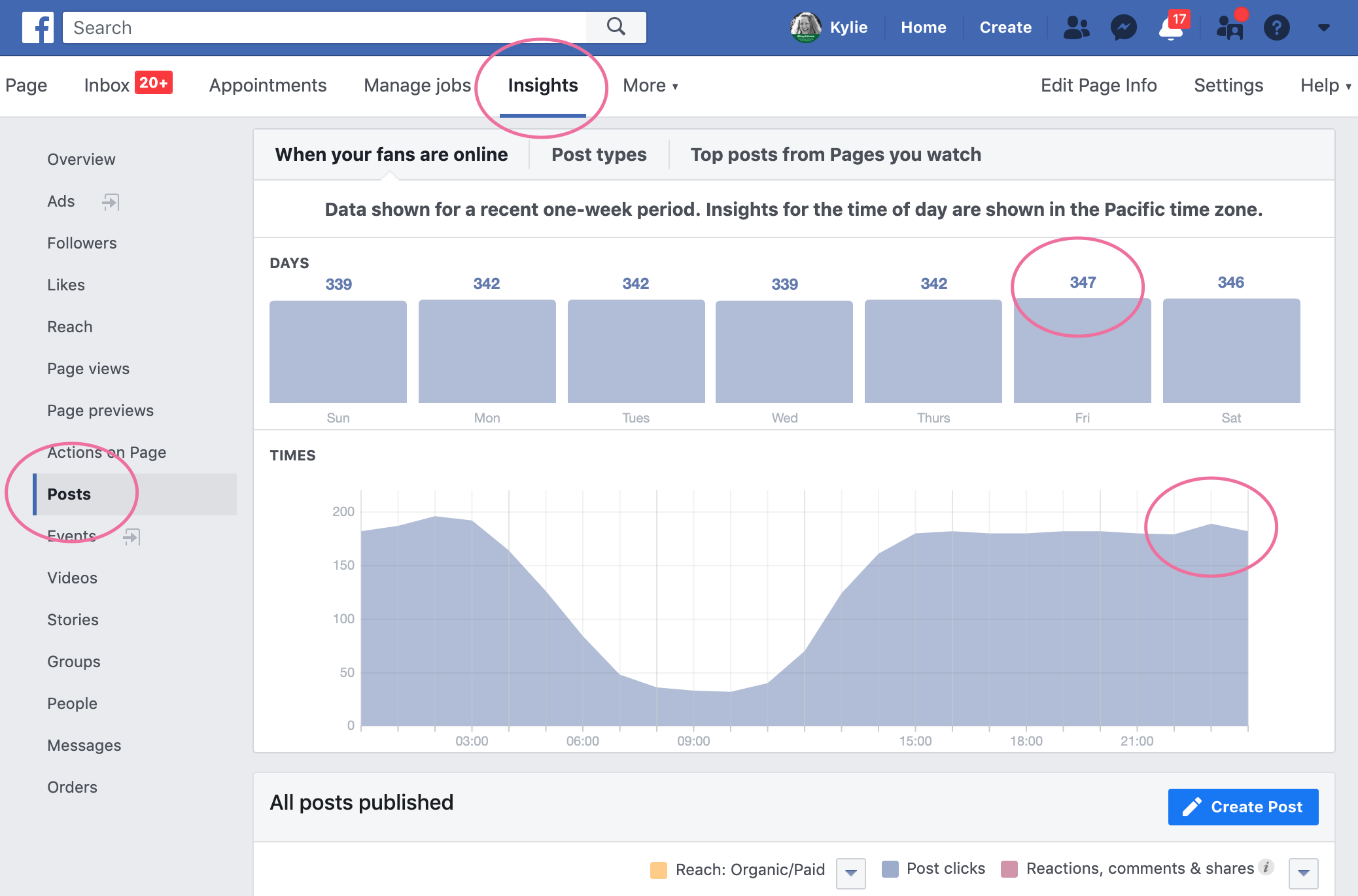 best times to post on facebook business page insights
