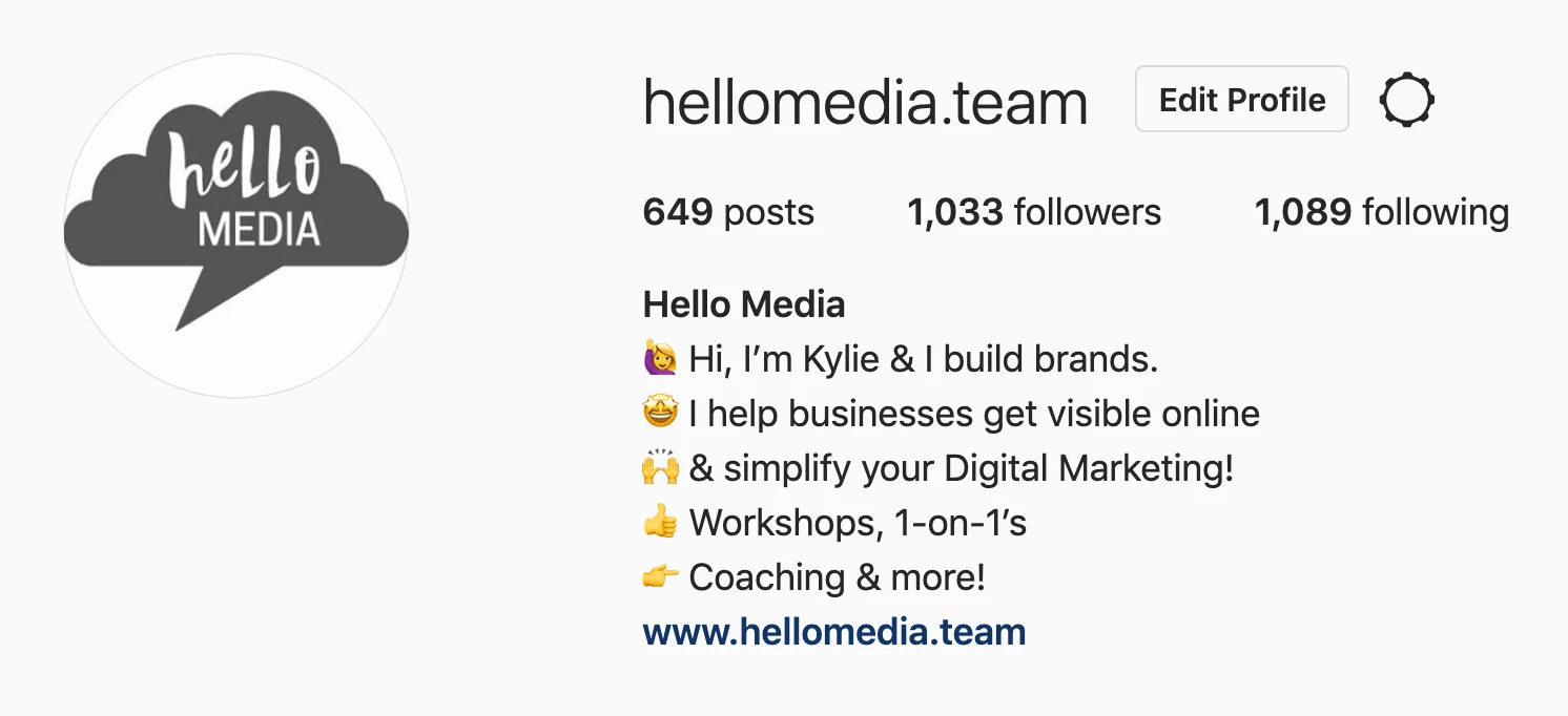 hello media instagram bio post social media tags followers