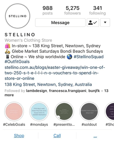 stellino instagram reduced bio large hello media social media
