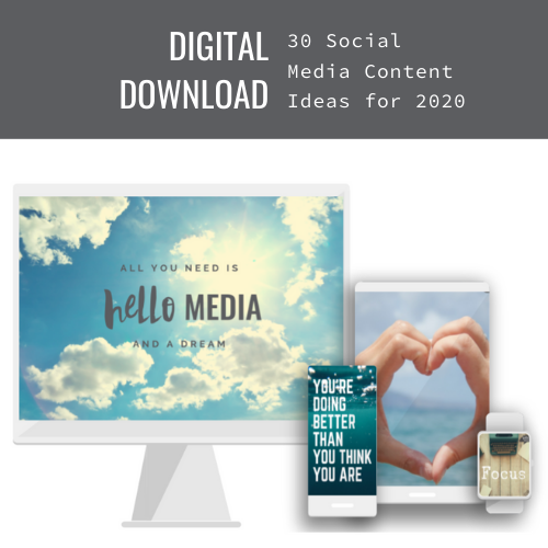 Digital File Download ~ 30 Social Media Content Ideas for 2020