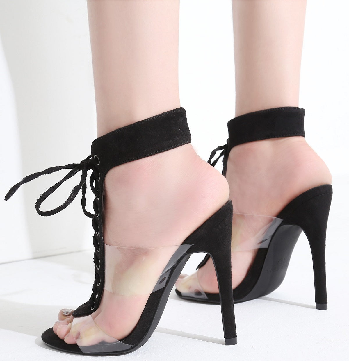75f9bae279a9 213-77 Lucite Clear PVC Open Toe Lace Up Stiletto High Heel Sandals ...
